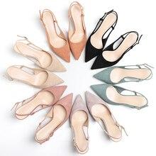 여성 신발 2020 봄 6CM 얇은 하이힐 Slingbacks 여성 지적 발가락 단단한 무리 여자 펌프 사무실 숙녀 우아한 샌들
