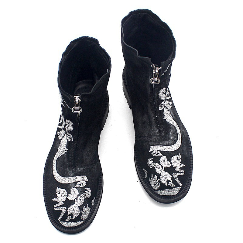 Runway Designer Mens Chinese Silver Dragon Embrodiery Ankle Boots Zipper Platform Cow Suede Leather Gothic Safety Shoes