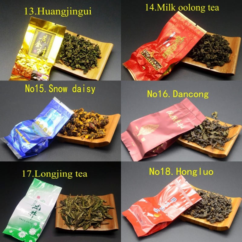 18 Different Flavors Chinese Tea Each tea Two bags Includes Milk Oolong Pu-erh Herbal Flower Black Green Tea 5