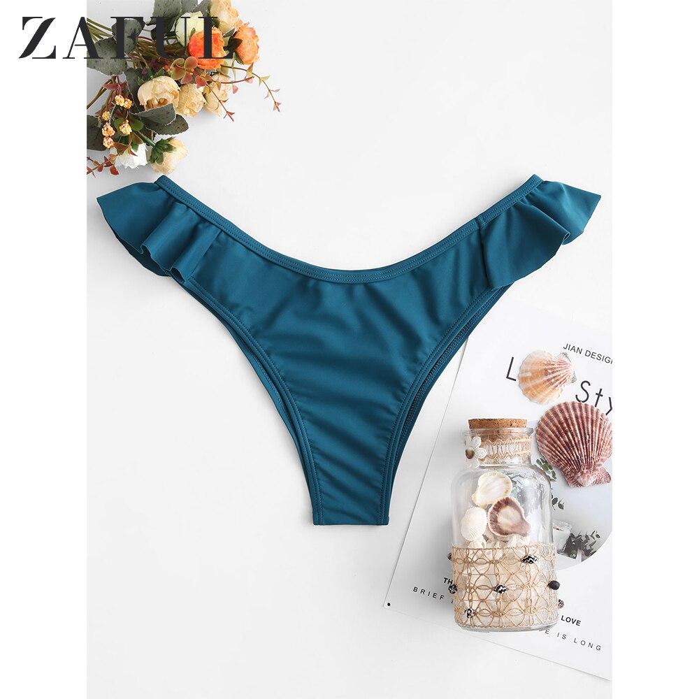 ZAFUL Ruffle High Leg Plain Bikini Bottom 2020 New Greenish Blue Color Beach Swim Briefs Middle Waist Solid Women Bikini Briefs