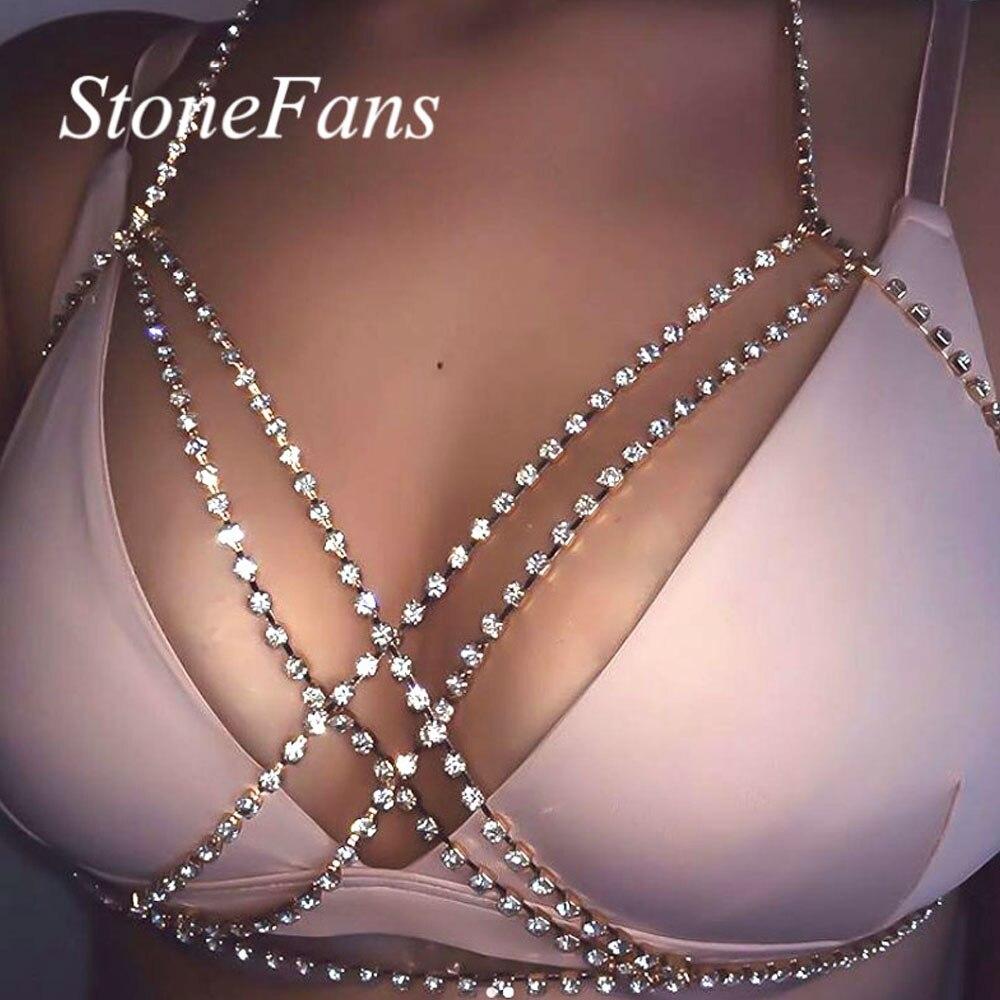 Stonefans Sexy Bikini Body Chain Crystal Underwear Jewelry for Women Cross Rhinestone Body Lingerie Bra Jewelry Valentine Gift 3