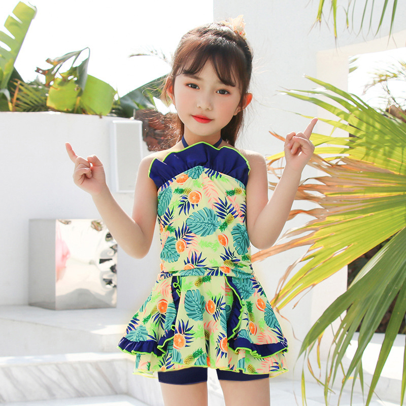 2019 New Style Hot Sales KID'S Swimwear Halter Backless Dress-Graceful Flounced Small CHILDREN'S GIRL'S Swimsuit