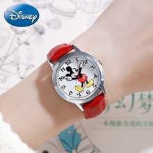 Fashion Women's Genuine Leather Band Quartz Disney Cuties Girl Watches Ladies Trendy Clocks Mickey Women Watch Waterproof Lady genuine disney roman type women dress best quality leather antique watches girl fashion casual quartz watch famous hour mickey
