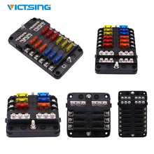 Victsing 12V 32V Fuse Holder Box 6/8/10/12 Ways Fuse Box Case With LED Indicator Light for Car Truck