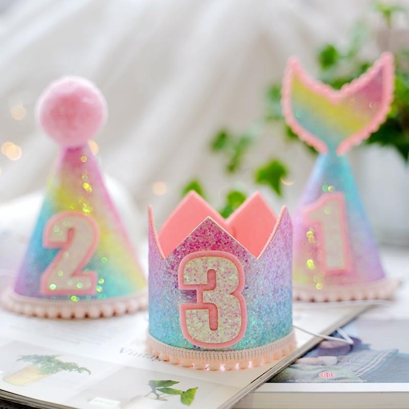 Colorful Birthday Rainbow Crown Cap 1/2/3 Years Kids Baby Shower Fishtail Hat With Rope Happy Birthday Headband Mermaid Party