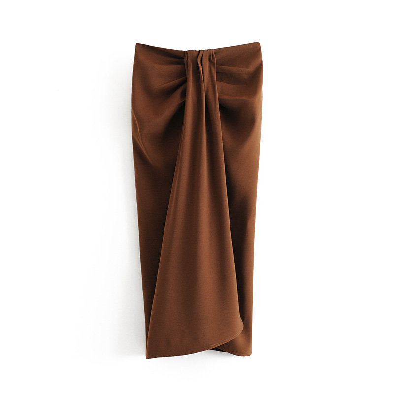 2019 Women Chic Solid Color Front Pleats Knotted Midi Skirt Split Zipper Fly Female Stylish Sexy Straight Mid Calf Skirts QUN418
