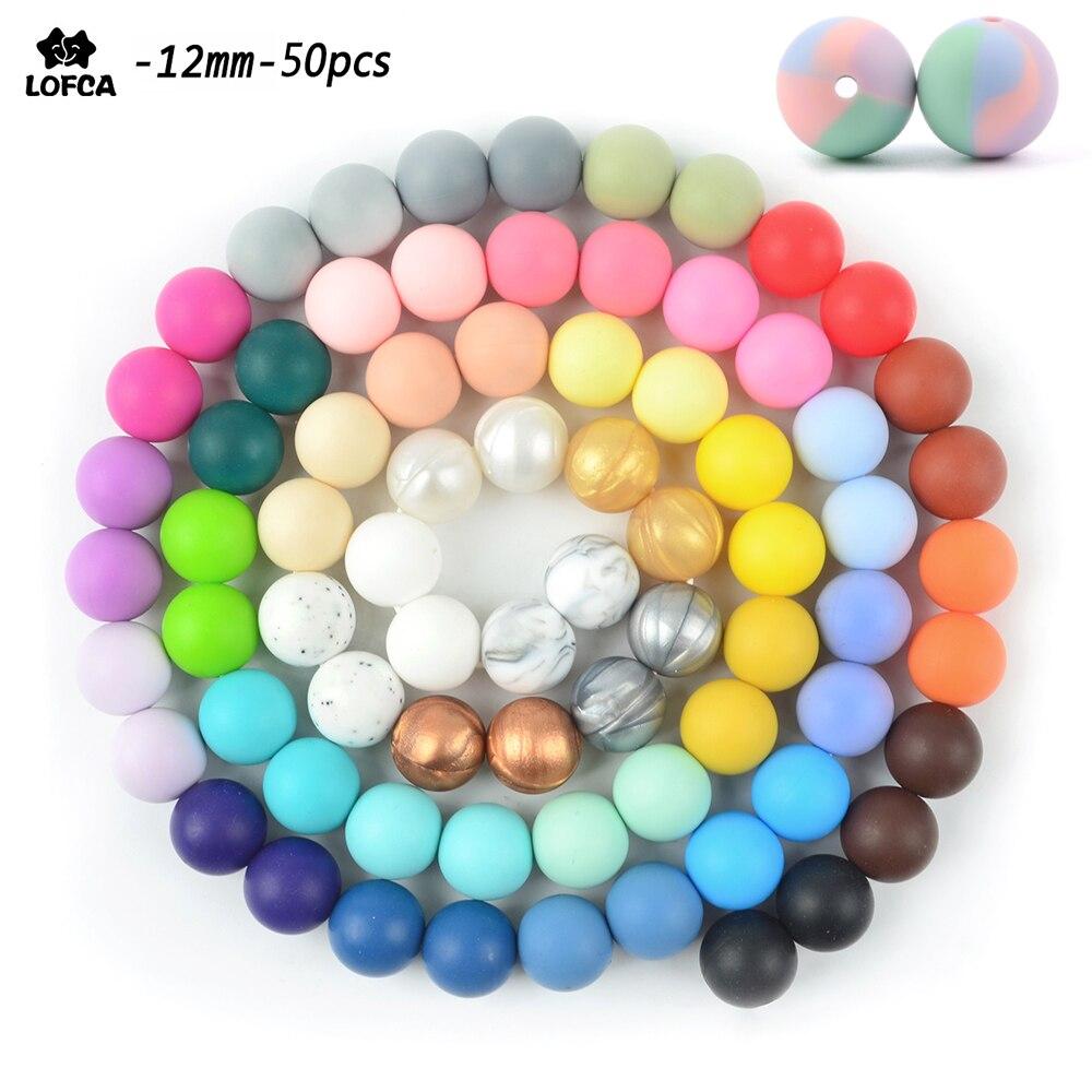 LOFCA Silicone Beads 12mm 50pcs/lot Teething Necklace Round Silicone Bead Baby Teether Toy Silicone BPA Free Newborn Nursing(China)