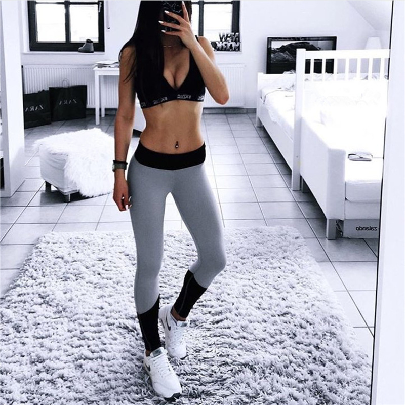 Europe And America Hot Selling Tight Leggings Outdoor Sports Ultra-stretch Four Needle Six Line Yoga Pants Contrast Color Leggin