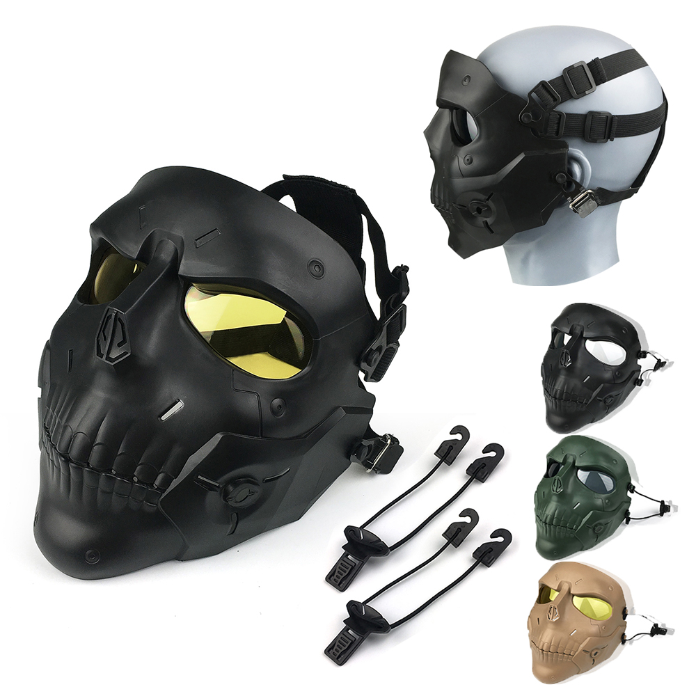 Airsoft Shock Resistant PC Lens Skull Paintball Games CS Field Face Mask Hunting Military Tactical Cycling Protection Mask