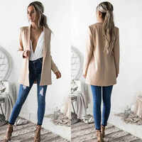 2019 Fashion Autumn Women Casual Slim Coats Business Suit Coat Solid Skinny Jacket Outwear Women Plus Turn-Collar Jacket
