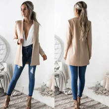 2019 Fashion Autumn Women Casual Slim Coats Business Suit Coat Solid Skinny Jacket
