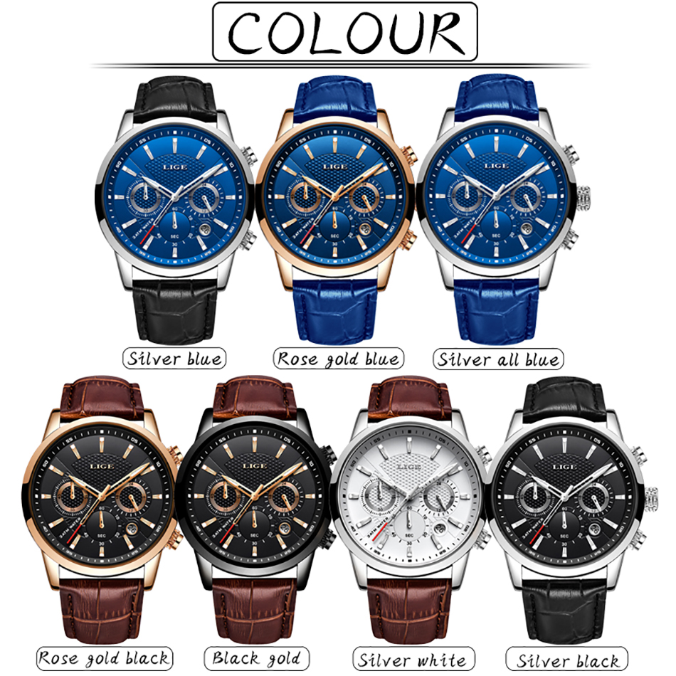 H748de1a5e6174fee87f2b44ac5f2b478i LIGE Fashion Mens Watches Top Brand Luuxury Blue Quartz Clock Male Casual Leather Waterproof Sport Chronograph Relogio Masculino
