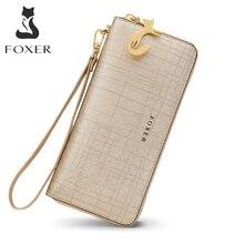 FOXER kadın deri cüzdan Bifold cüzdan debriyaj cüzdan bileklik kart tutucu bozuk para cüzdanı cep telefonu çanta kadın el çantası