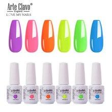 Arte clavo 8 мл 6 шт Гель лак для ногтей чистый цвет замачиваемый