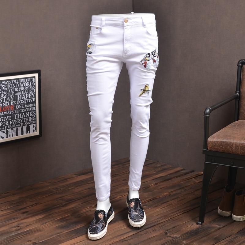 Fashion Mens Skinny Jeans Elastic White Streetwear Bird Embroidery Jean Pants For Cowboys Men P86