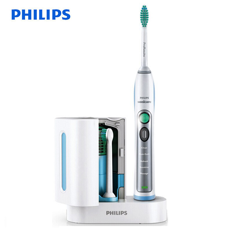 Philips Sonicare HX6972/10 Smartimer and Quadpacer Sonic Electric Toothbrush White&Silver with Waterproof Rechargeable for Adult image