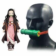 Japanischen Anime Dämon Slayer Kamado Nezuko Requisiten Cosplay Hand Made Kimetsu keine Yaiba Dicht Bambus Rohr Mund Stick