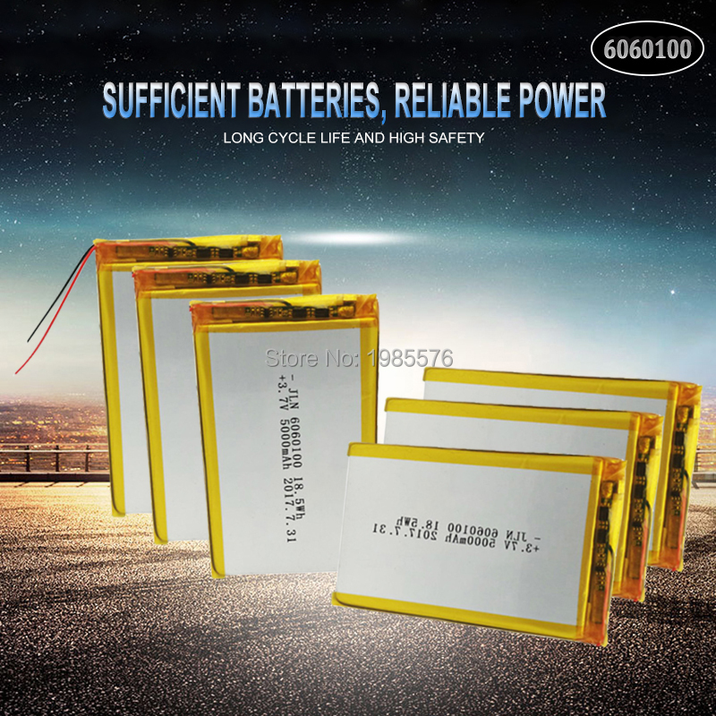 3.7V 5000mAh <font><b>6060100</b></font> Polymer Lithium LiPo Rechargeable Battery For GPS PSP DVD Tachograph power bank Speaker Searchlight image