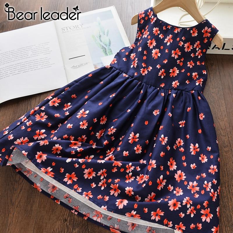 Bear Leader Floral Girls Dresses Summer New Children's Wear Girls Sweet Flower Splice Vest Dress Casual Kids Princess Costume