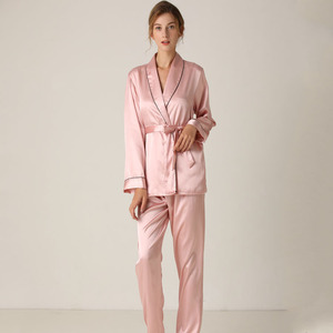 Image 1 - Lisacmvpnel Silk Long Sleeve Trousers Lapel High Archives Pajamas With Belt Solid Color Nightwear