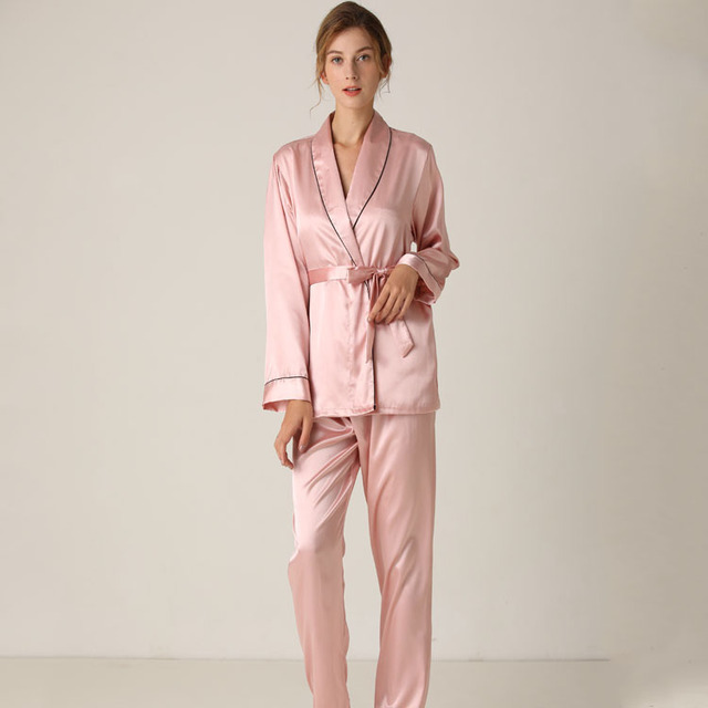 Lisacmvpnel Silk Long Sleeve Trousers Lapel High Archives Pajamas With Belt Solid Color Nightwear