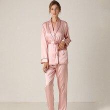 Pijamas de Seda Calças de Manga Longa Lapela Alta Arquivos Lisacmvpnel Com Cinto de Cor Sólida Roupa de Dormir