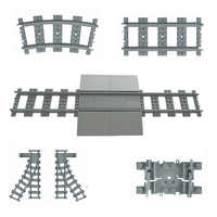 Flexible City Trains Rails Track Railway Model sets Forked Straight Curved Building Blocks Bricks Compatible LegoINGlys Toys