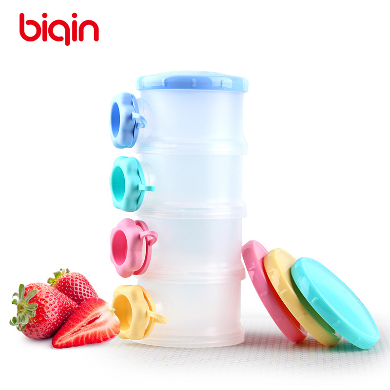 Than Separate Four Layer Milk Box Infant Milk Container Side Open Food Storage Box Portable Sealed