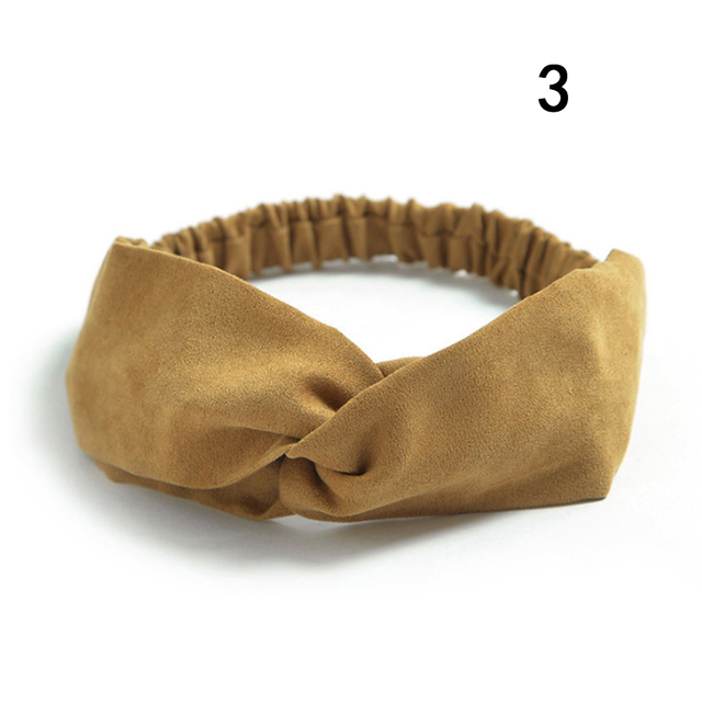 Women Suede Headband Bohemian Vintage Cross Knot Elastic Hairband Girls Hair Accessories Hair Bands Solid Color Knotted Headwear