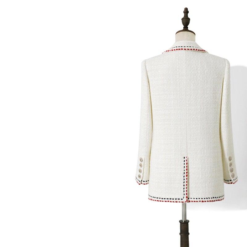 2020 Spring Autumn White Vintage Plaid Wool Tweed Blazer Women Chic Button Suit Coat Female Jacket Tops Office Blazers Feminino