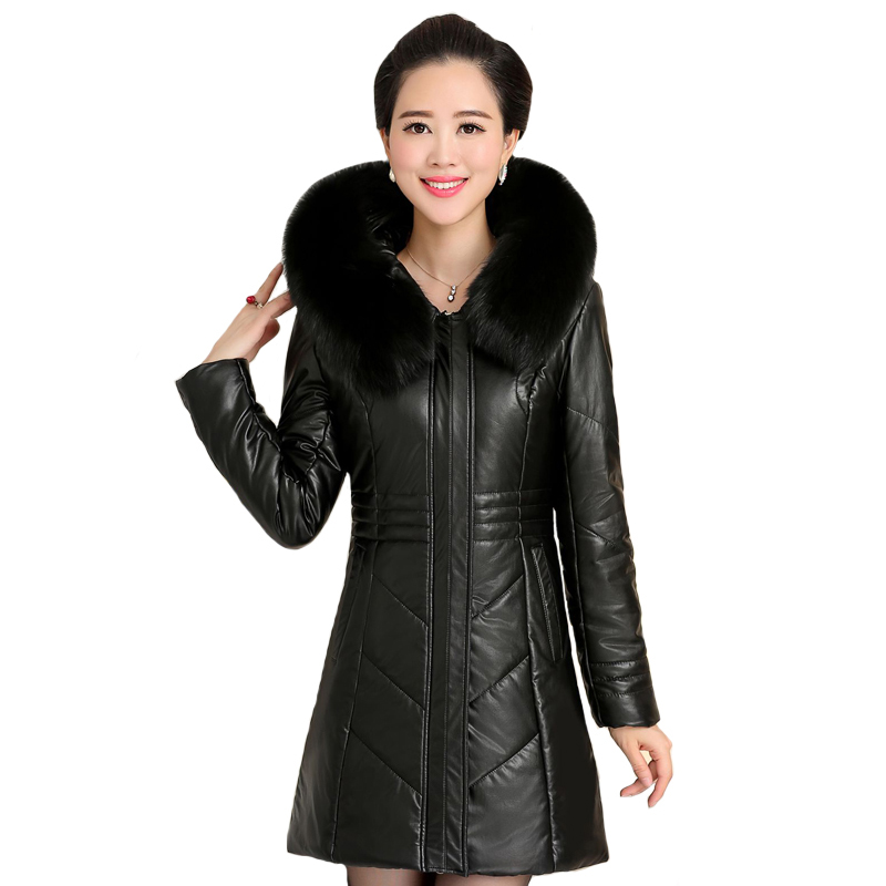 Большой размер 8XL 2019 зимняя куртка из искусственной кожи женские толстые теплые длинные парки с капюшоном и меховым воротником зимнее пальто женские парки
