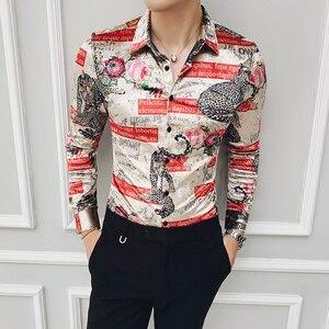 Image 2 - ฤดูหนาวเสื้อบุรุษกำมะหยี่หรูหราเสื้อบุรุษพิมพ์ Camisas Hombre SLIM FIT Royal Baroque Mens เสื้อผ้า Club PARTY DRESS