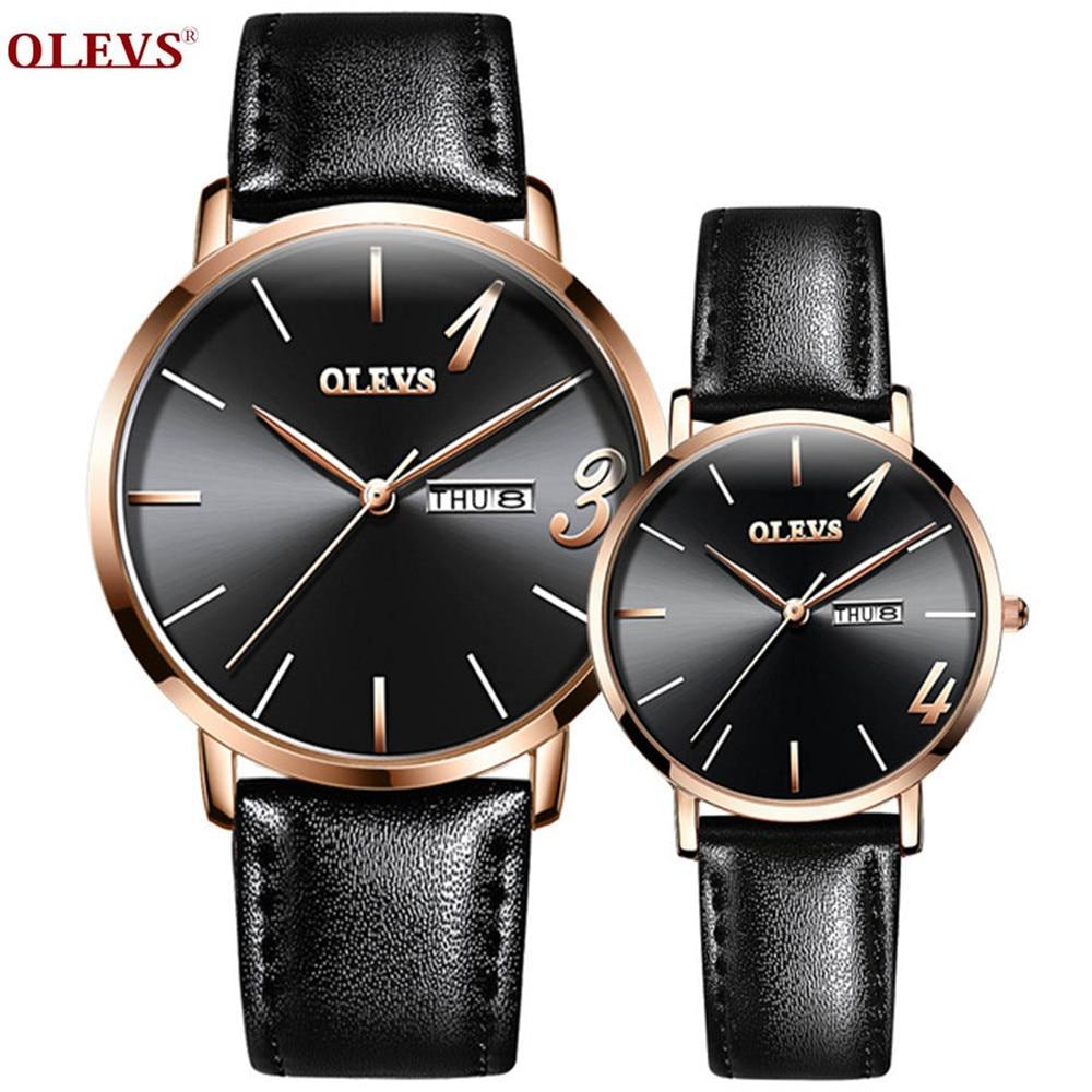 OLEVS Couple Watches Auto Date Week Quartz Wristwatch Set Lovers Waterproof Original Brand Women Men Casual Luxury Couple Gifts