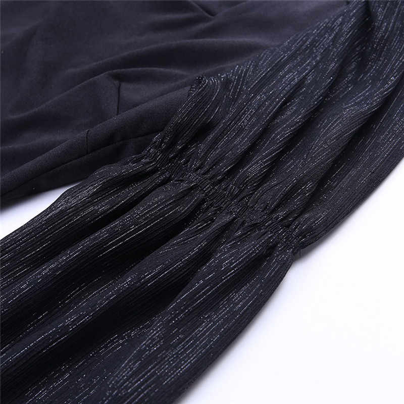 Camisetas cortas de malla transparente a la moda con cuello cuadrado y manga larga de farol para mujer #40