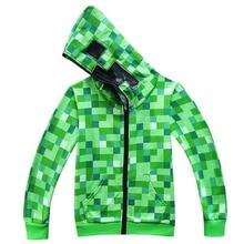 Kids Children Halloween Green Creeper Cosplay Costume Funny Cartoon Hoodie Sweatshirt Birthday Party Minecrafters Jacket Outwear