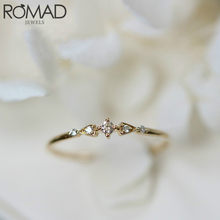 Romad delicado simples cristal marca anéis para as mulheres dainty zircônia cúbica anel feminino festa de casamento jóias anel de noivado presente