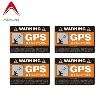 Aliauto 4 X Warning Car Sticker GPS Alarm System Decal Accessories PVC for Mazda Mazda 3 Subaru Golf 4 Mini Cooper Kia,8cm*5cm image