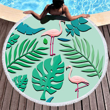 Flamingo Printed Microfiber Round Beach Towel With Tassels 150x150cm Wall Tapestry Bath Towels Toalla De Playa 2019 geometric patterns summer round beach towel with tassels beach covers bath towel picnic yoga mat for adult toalla de playa