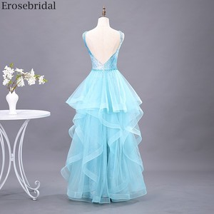 Image 2 - Erosebridal שמיים כחולים שמלה לנשף 2020 חדש אופנה שכבות שמלת ארוך פורמליות שמלת ערב שמלת מסיבת פתוח חזור V צוואר