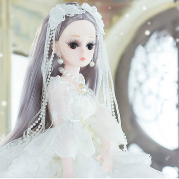 New 60cm 20 Movable Joints White Skin Bjd Doll Princess Dress Girl Toys 3D Eyes Clothes Shoes Accessories BJD Doll Toy For Girls doll bjd eyes craft resin eyeball safety animal toy eyeball 14mm bjd accessories doll toys accessories dolls eyes
