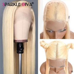 613 Blonde Straight Lace Wigs 4*4 Closure Wig Brazilian Human Hair Wigs Pre Plucked Transparent Lace Wigs Blonde Remy Hair Wig