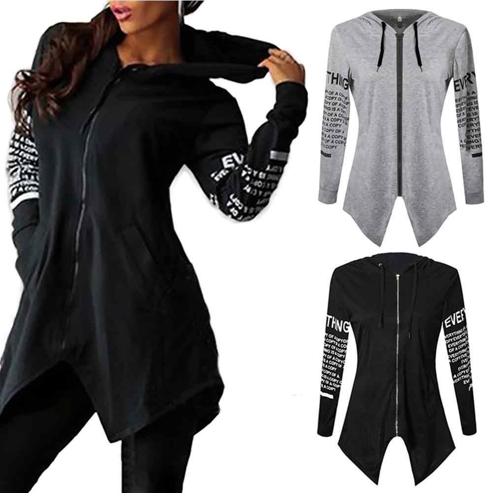 Frauen Hoodies 2019 Frühling Herbst weibliche Beiläufige Hoodies Sweatshirt Zipper Unregelmäßige Split HoodiesSolid Farbe Hoodies Sweatshirt