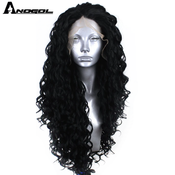 Anogol Free-Part Synthetic Wig Black Kinky Curly lace front Wigs Heat Resistant Fiber Balayage Blonde Lace Front Wig For Women free shipping red hair kinky curly synthetic wig for black women 180 nsity lace front wigs heat resistant fiber