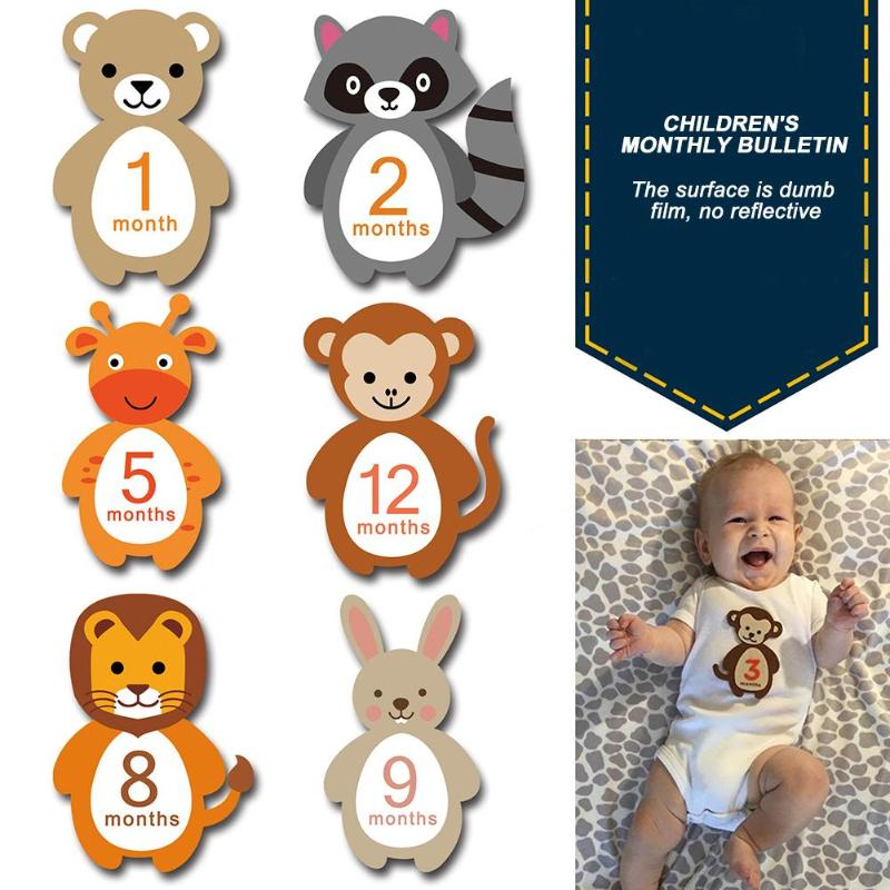 12pcs/Set Month Sticker Baby Photography Milestone Card Newborn Monthly Commemorative Stickers Props For Infant Growth Card Prop