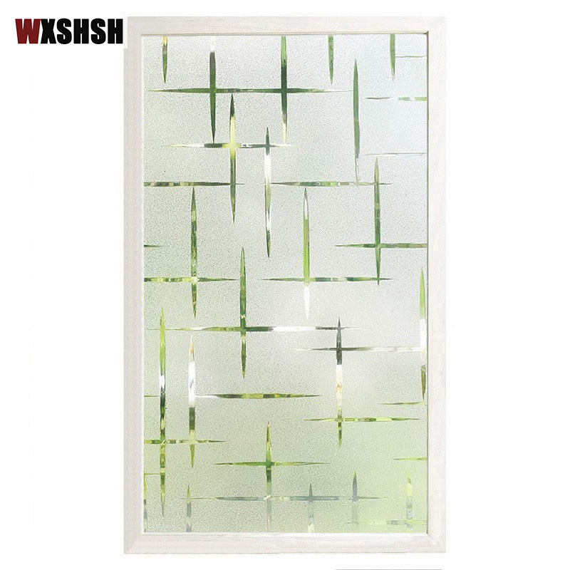 3D Cross Pattern Frosted No Glue Static Cling Privacy Glass Window Film For Home Decoration Static Film For Window Drop-Shipping