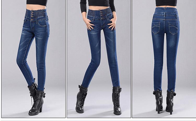 Womens Winter Jeans High Waist Skinny Pants Fleece Lined Elastic Waist Jeggings Casual Plus Size Jeans For Women Warm Jeans 20