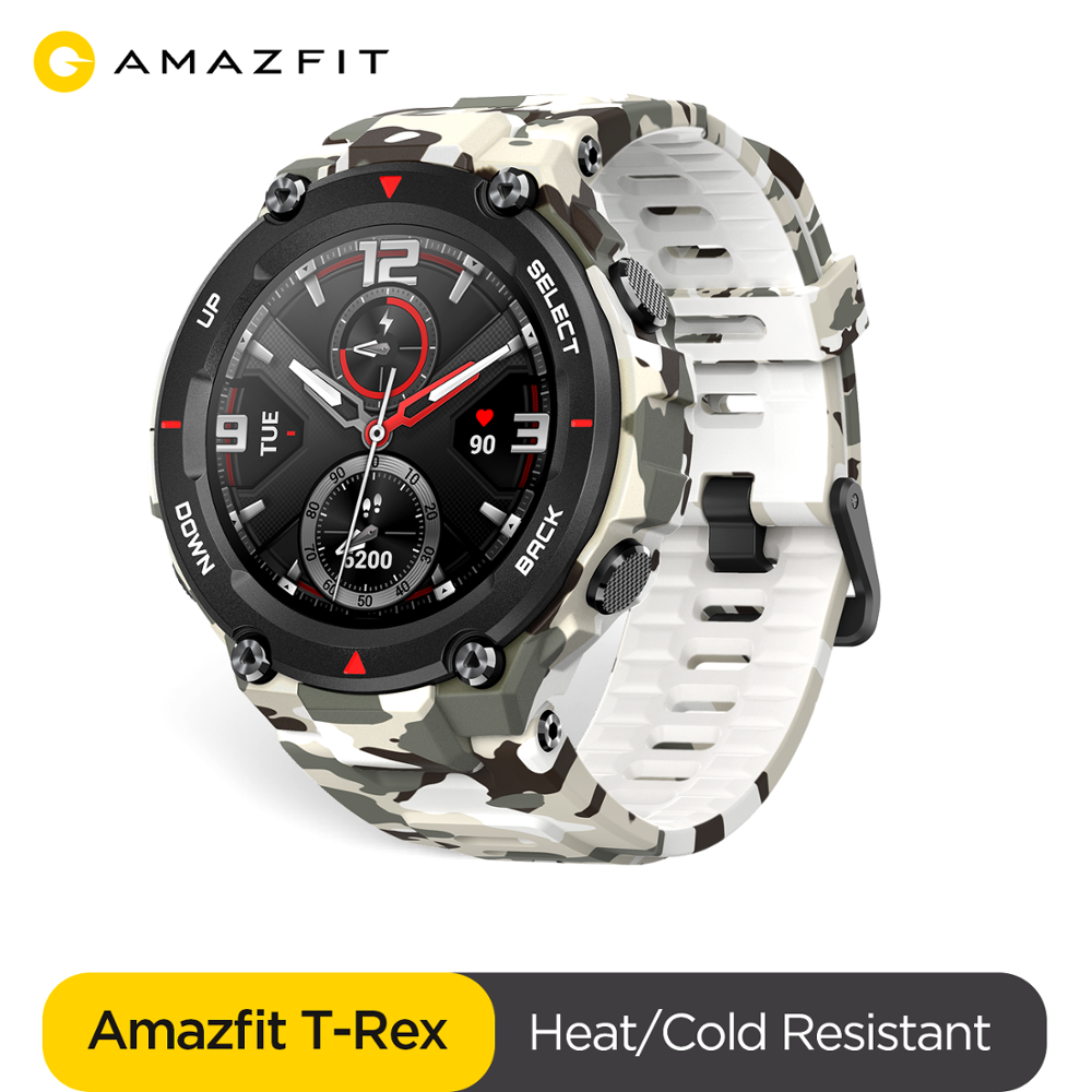 New 2020 CES Amazfit T-rex Smartwatch 5ATM MIL-STD Certificate Smart Watch GPS/GLONASS AMOLED Screen For Xiaomi IOS Android