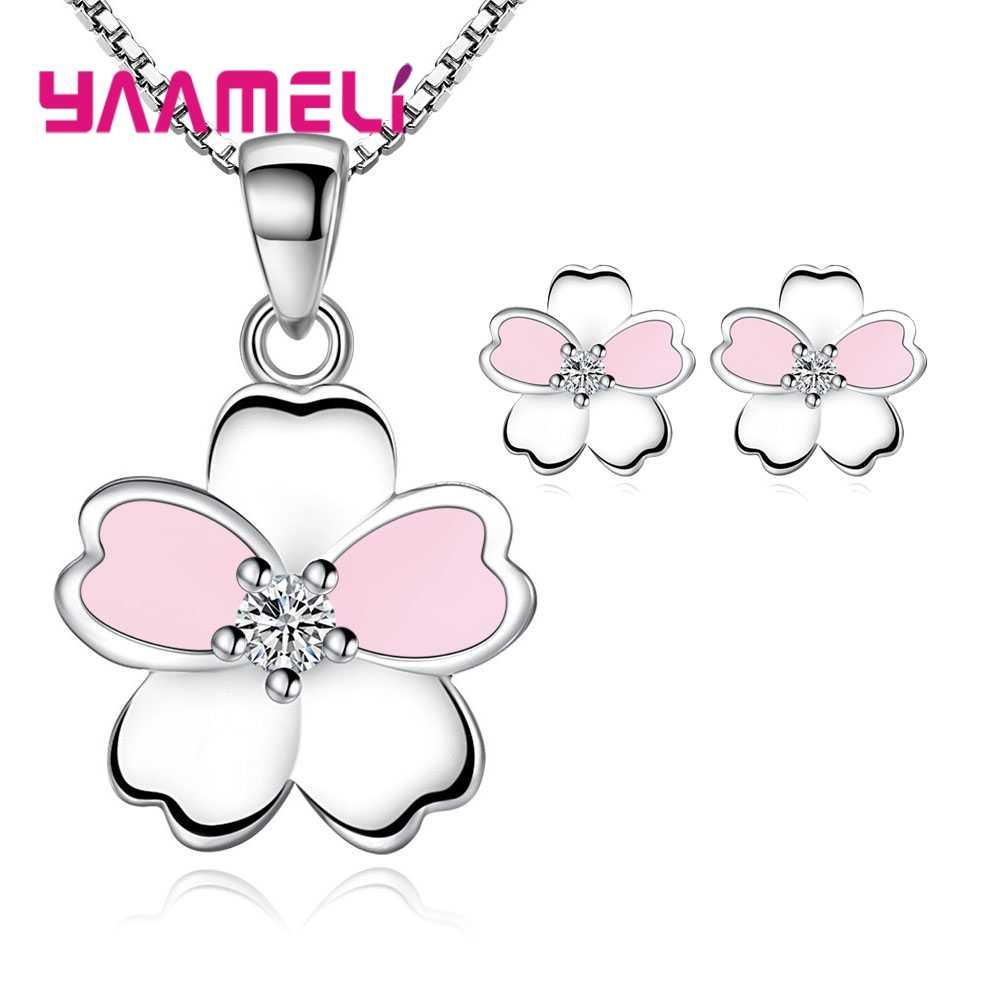 Top Selling 2020 New Trendy Women Gifts Jewelry Sets 925 Sterling Silver Sweet Flower Pendant Necklace Earrings for Party