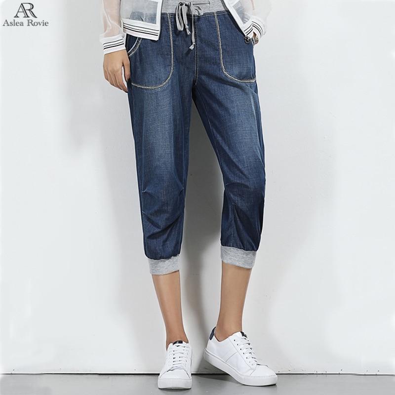 Jeans For Woman Summer High Waist Plus Size Denim Mom Harem Pant Capris Jeans 6xl 7xl 8xl