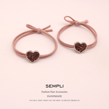 2 Pieces Pink Solid Elastic Hair Bands Heart  Bear Glitter Headband For Chemo Women Cartoon Rubber Band Letters Accessories
